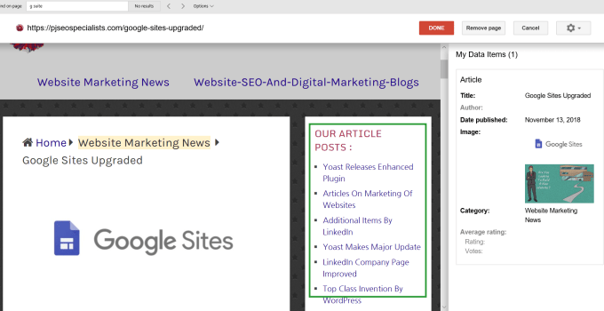 google search console showing content in sidebars at data highlighter tool