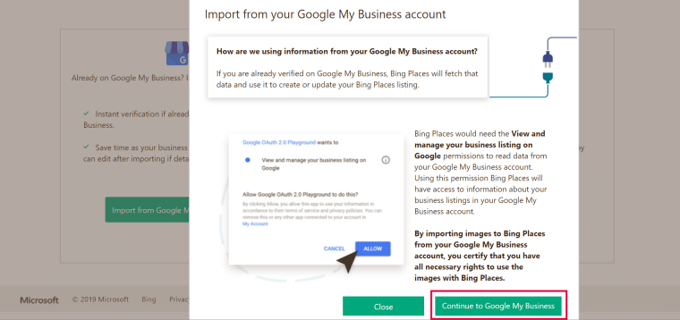 optimize bing company listing through google my business portal