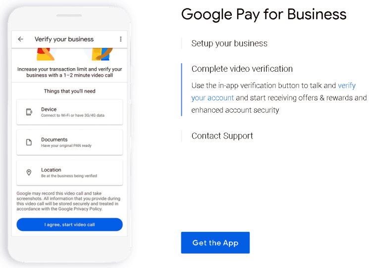 verify your business on the google pay application