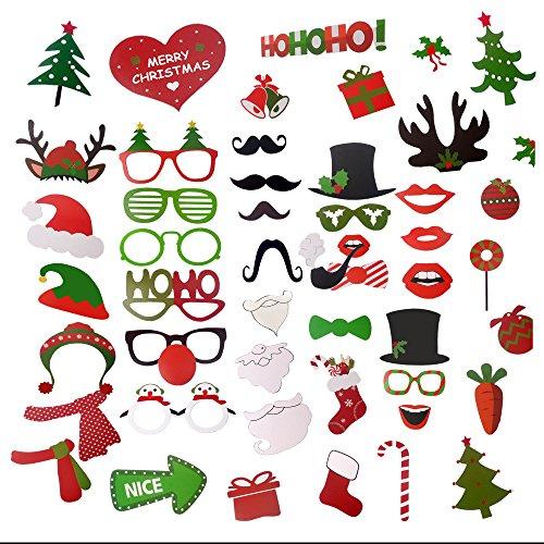 2017 Merry Christmas Photo Booth Props Kit - iRush 49pcs Fun Family Theme Holiday Party Decoration DIY Funny Glasses Moustache Red Lips Deer Horn Haton Selfi Sticks, Santa / Elf Costume Photo Stick