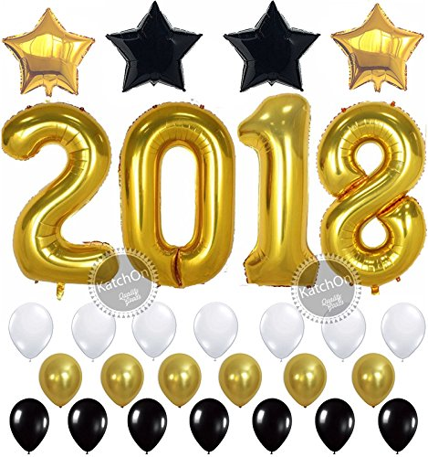 2018 BALLOONS NEW YEAR GRADUATION - Gold, 2018 New Years Eve Party Supplies Decorations - Graduation Party Supplies - Graduation Decorations - Gold Black and White Balloons for Events - Large 40 Inch