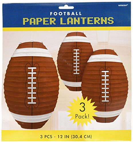"""Amscan Football Frenzy Birthday Party Hanging Lanterns Decoration (3 Piece), Multi Color, 12 x 11"""""""