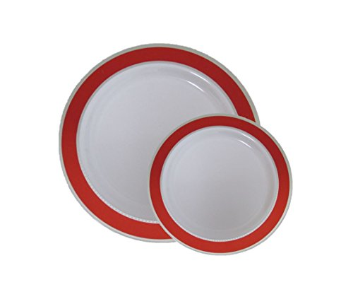 """Christmas Disposable Plastic Dinner Dessert Plates With Red and Silver Trim-40 Pack - 20 7"""" Dessert Plates, 20 10.25"""" Dinner Plates. Elegant Holiday China Like Wedding Dinnerware"""