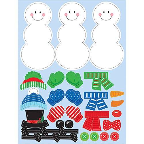 Creative Converting 324374 48-Count Sticker Sheets, Build A Snowman