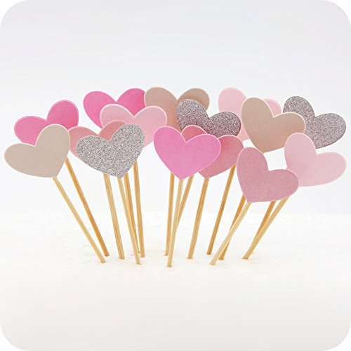 Cupcake Toppers 30Pcs Set, GUGUJI Funny Pink Heart DIY Glitter Mini Birthday Cake Snack Decorations Picks Suppliers Party Accessories for Wedding and Baby Shower