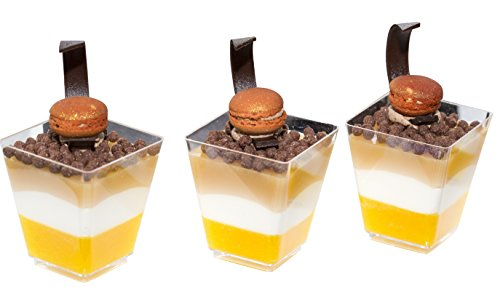 Premium Square Dessert Cup ( 4 oz ) made from Durable Crystal Clear Plastic by Oasis Creations ( 50 Count ) Ideal for Desserts,Appetizers,Entrees,Puddings,Mousse and More!