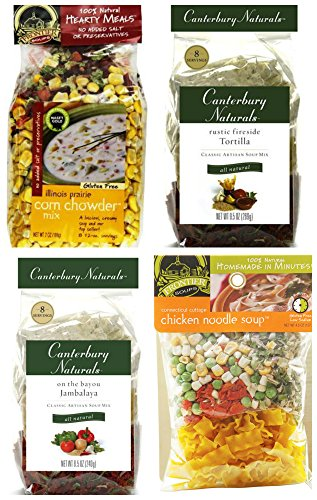 Soup Lovers Bundle #2: (1) Frontier Soups Chicken Noodle, (1) Frontier Soups Corn Chowder, (1) Canterbury Naturals Tortilla and (1) Canterbury Naturals Jambalaya, 4.5-9 Oz Each (4 Bags Total)