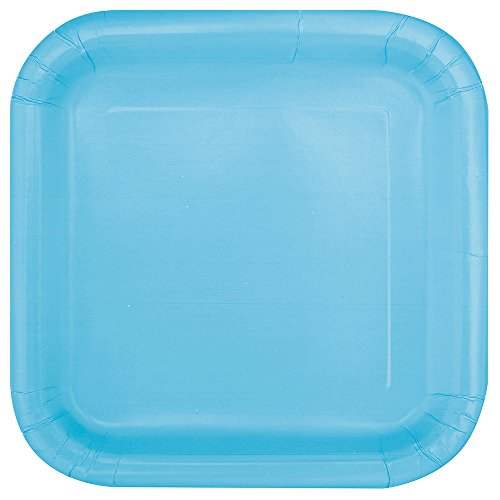 Square Light Blue Paper Cake Plates, 16ct