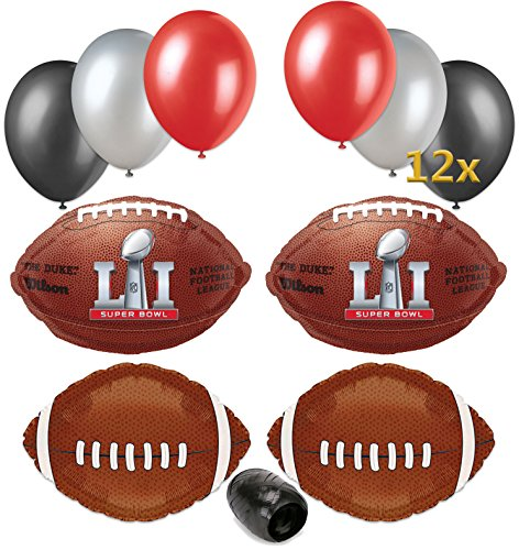 Super Bowl LI 51 2017 NFL Football Balloon Party Supply Pack 17pc
