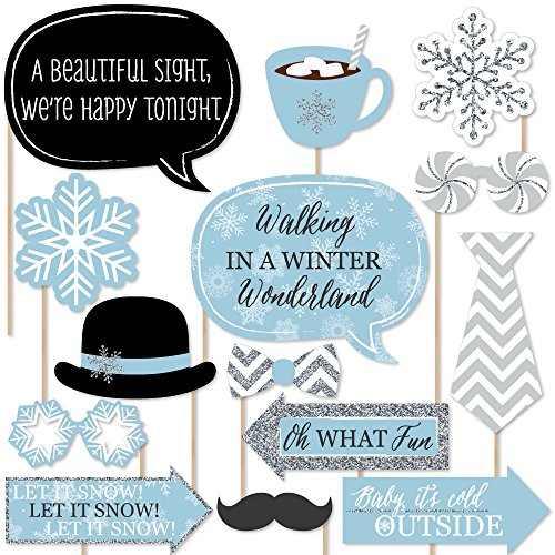 Winter Wonderland - Snowflake Holiday Party & Winter Wedding Photo Booth Props Kit - 20 Count