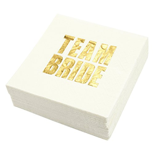 50-Pack Cocktail Napkins - Team Bride Printed in Gold Foil - Perfect for Bachelorette, Bridal Shower and Wedding Party 5 x 5 Inches Folded