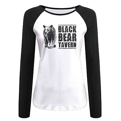 Creamfly Womens Black Bear Poster Long Sleeve Raglan Baseball Tshirt XL