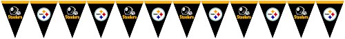 Creative Converting Officially Licensed NFL Plastic Flag Banner, 12', Pittsburgh Steelers