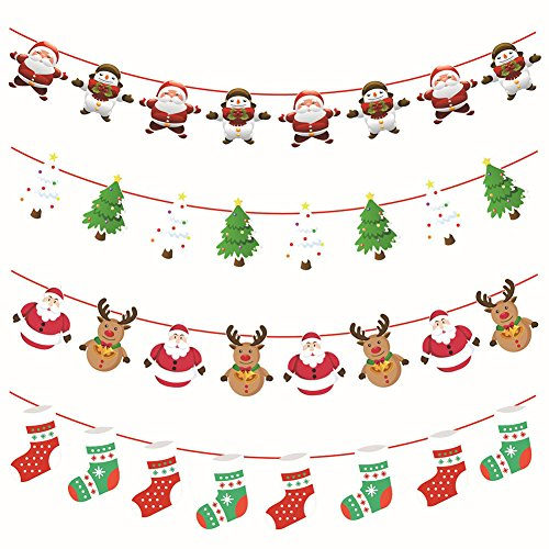 Crt Gucy 4Pcs Merry Christmas Banners Hanging Bunting Garlands for Holiday Party Decoration