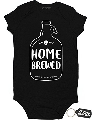 Daft Baby Onesie Home Brewed Cute Funny Baby Shower Newborn & Dad Keychain Gift Black (Newborn)