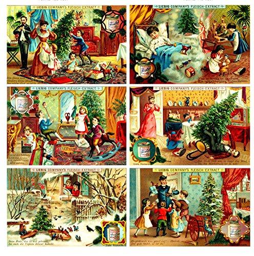 "Large Stickers (each sticker 2.5""x3.5"", 8 stickers on sheet) Christmas Preparation FLONZ Craft Vintage"