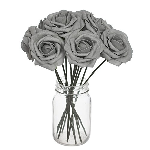 Ling's moment Artificial Flowers Shinny Silver Roses 50pcs Real Looking Fake Roses w/Stem for DIY Wedding Bouquets Centerpieces Arrangements Party Baby Shower Home Decorations