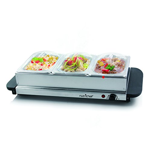 NutriChef 3 Tray Buffet Server & Hot Plate Food Warmer   Tabletop Electric Food Warming Tray   Easy Clean Stainless Steel   Portable & Great for Parties & Events   Max Temp 175F