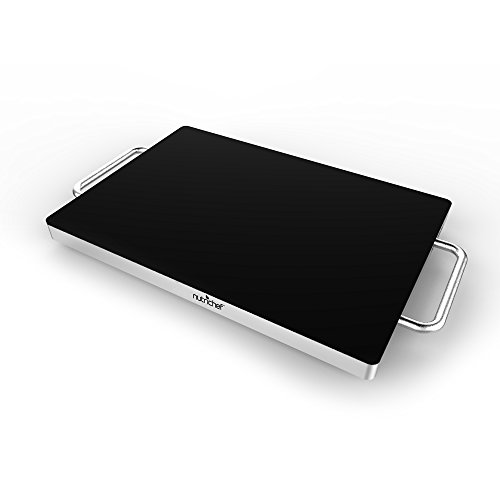 NutriChef Electric Warming Tray, Food Warmer, Hot Plate, Perfect For Buffets, Banquets, House Parties - Professional 180-Watt Warming Tray, Stainless Steel, Energy Efficient (PKWTR30)