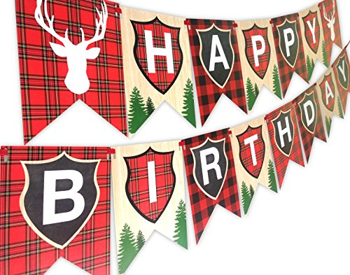 Woodland Reindeer Happy Birthday Banner Pennant Camping Party Banner by POP parties