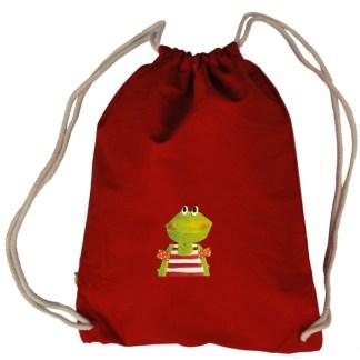 kikker kikkertje zwemles rood rode gymtasje, tas gymtas bio, canvas organiccotton biokatoen Pjut illustratie kind kinderen jongen meisje meisjes jongetjes Inge Adema duurzaam wasbaar