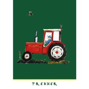 """kaart rode trekker uit serie """"Op de boerderij"""""""