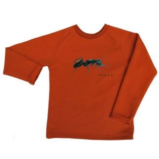 pompoemkleurige, biologische kindersweater met mier