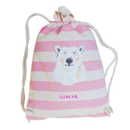 Roze gestreept gymtas met ijsbeer. gemaakt van biologisch canvas. voor kinderen