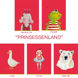 "set van 5 Friese kinderkaarten ""Prinsessenland"""