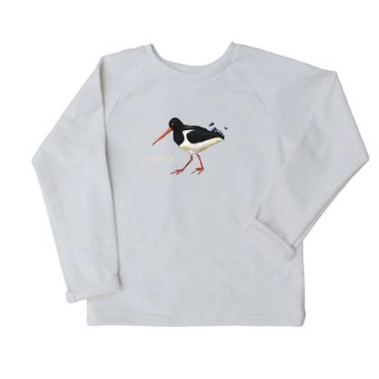 Sweater biokatoen met scholekster voor kinderen van nul tot zes jaar