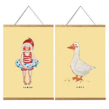 poster famke, meisje en goes, witte gans van Pjut. a4 formaat.