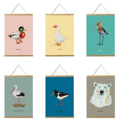 6 posters van vogels en een ijsbeer. a4 formaat
