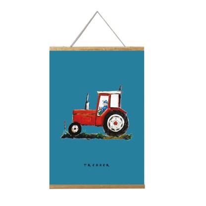 poster rode tractor afmeting 20x30cm. voor de kinderkamer in boerderij stijl in lijst