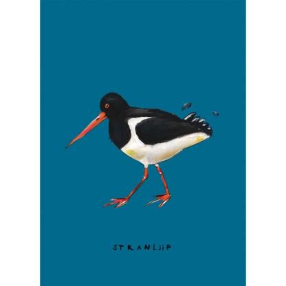 Poster Stranljip op A4. Vrolijke illustratie in acrylverf van atelier Pjut