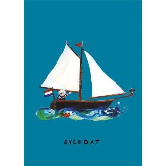 poster zeilbootje 20x30 van atelier Pjut. voor de nautische kinderkamer