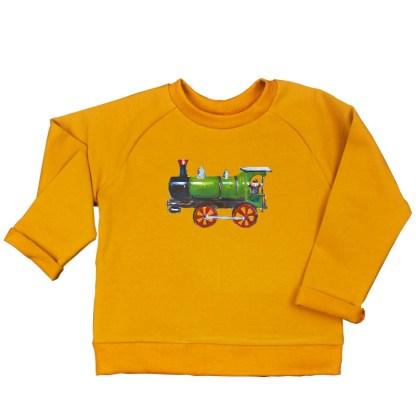 oker sweater locomotief van biologisch katoen met illustratie van atelier Pjut
