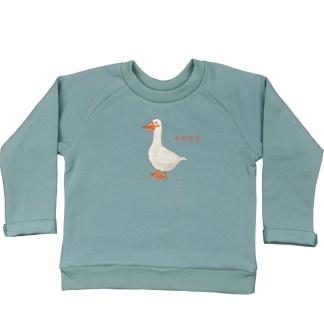 Zeegroene kindersweater met gans van GOTS gecertificeerd katoen
