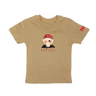 Camel t-shirt met piraat van biologisch katoen voor kind. Illustratie van atelier Pjut in Leeuwarden