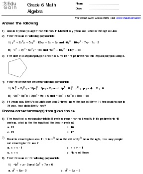 Grade 6 Math Worksheets And Problems Algebra Edugain