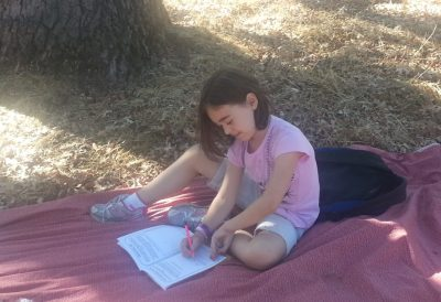Encourage quiet listening and drawing about things your child observes in nature.