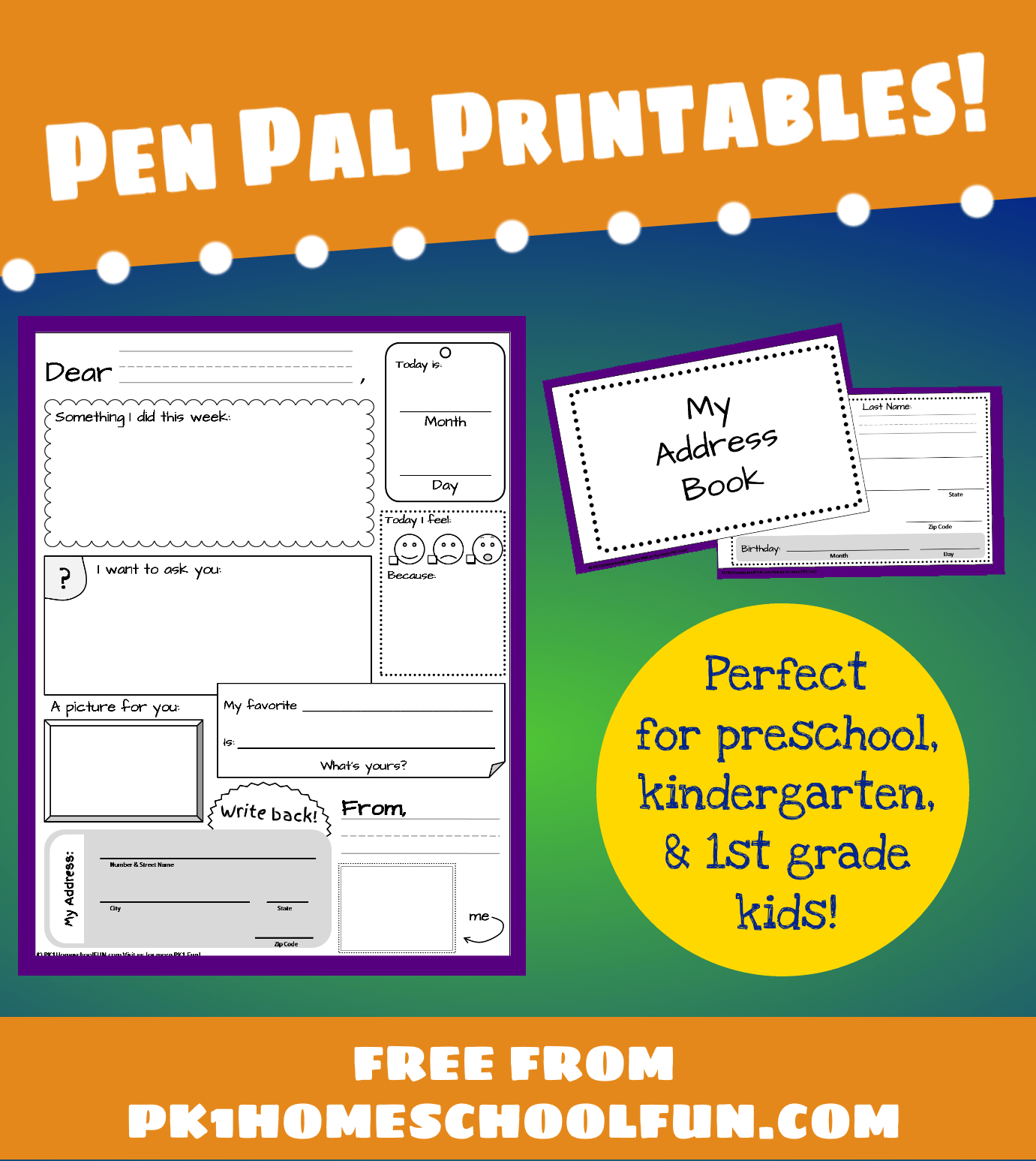 Pen Pal Printables For Pk1kids