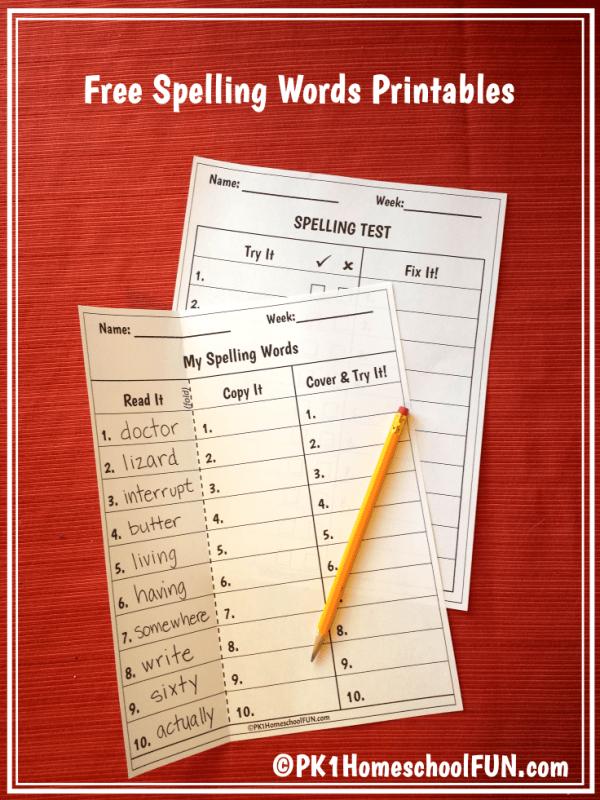 Spelling Test Printables For Kindergarten, 1st grade, 2nd grade