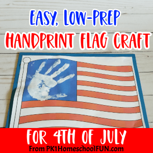 Patriotic crafts for the 4th of July. Easy low prep handprint flag craft!