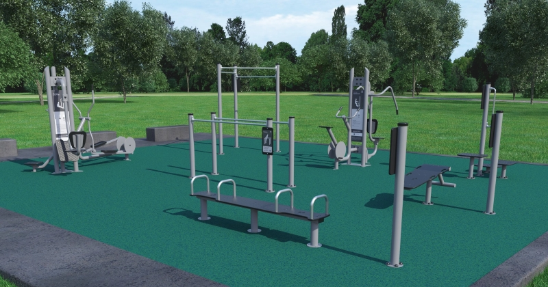 Artist impression of the outdoor fitness equipment for Gloucester Boulevard