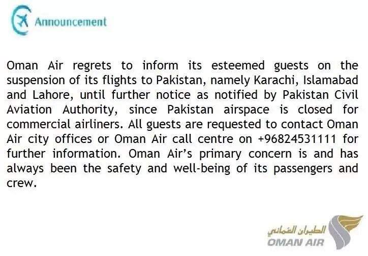 Oman Air notification to passengers about cancellation of flights to Pakistan.
