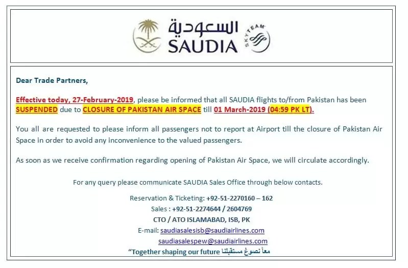 Saudi Airlines cancels flights to Pakistan