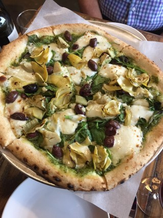 Artichoke, Spinach, Pesto Pizza
