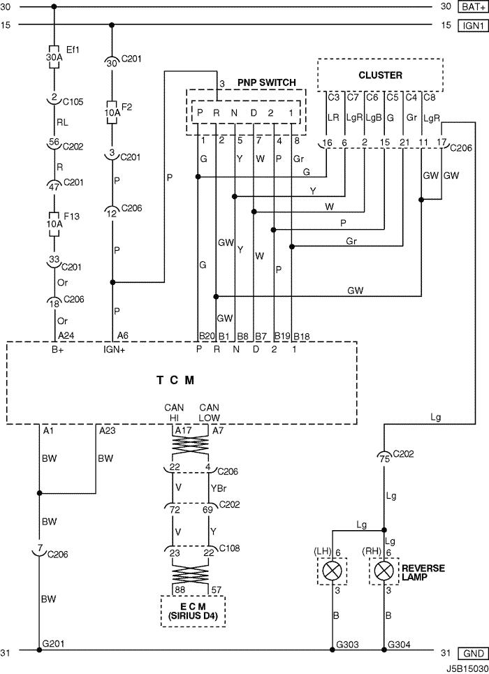 Electrical Wiring Diagram 2005 Nubira-Lacetti 6. TCM