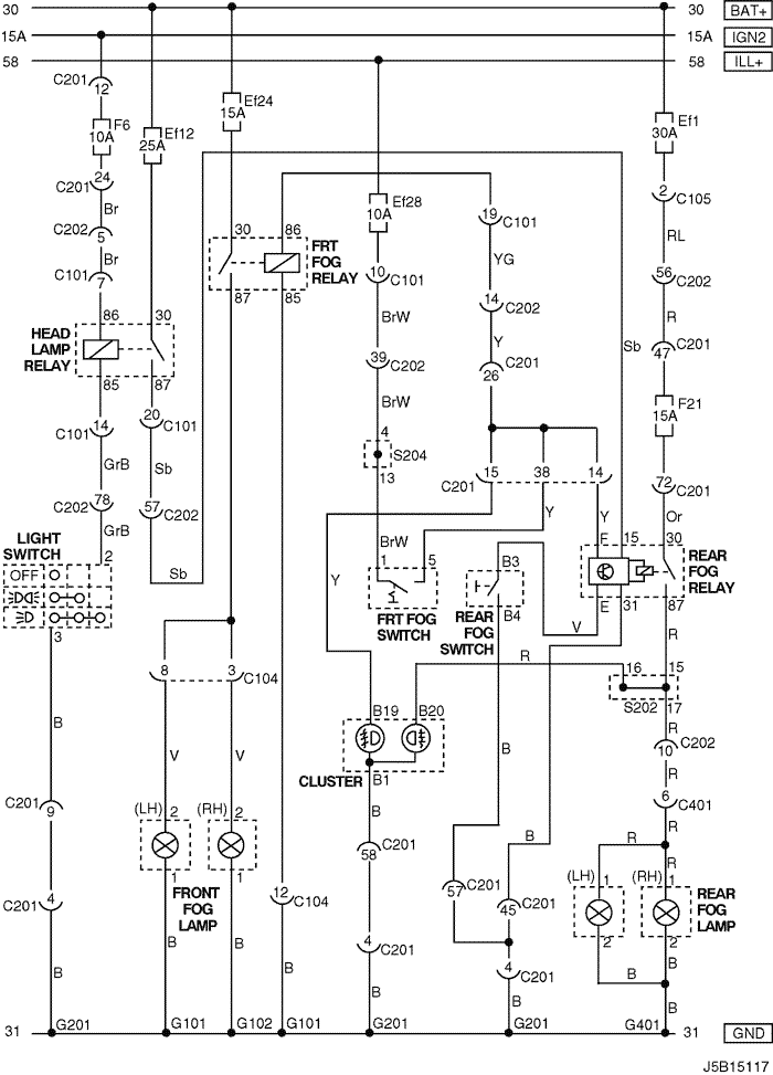 Electrical Wiring Diagram 2005 Nubira-Lacetti 12. FRONT