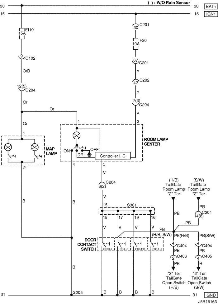 Electrical Wiring Diagram 2005 Nubira-Lacetti 16. LAMP
